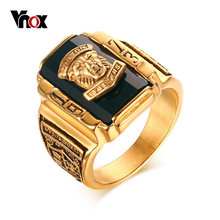 Vnox Men's Rock Punk Ring Gold-color Large Black CZ Stone Ring Men Jewelry Cool Lion Head School Party Rings(China)