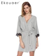 Ekouaer Women Sleepwear Nightwear Kimono Robe Soild Winter Autumn Casual Cotton Bathrobe Belt Elegant Bathroom Spa Robe