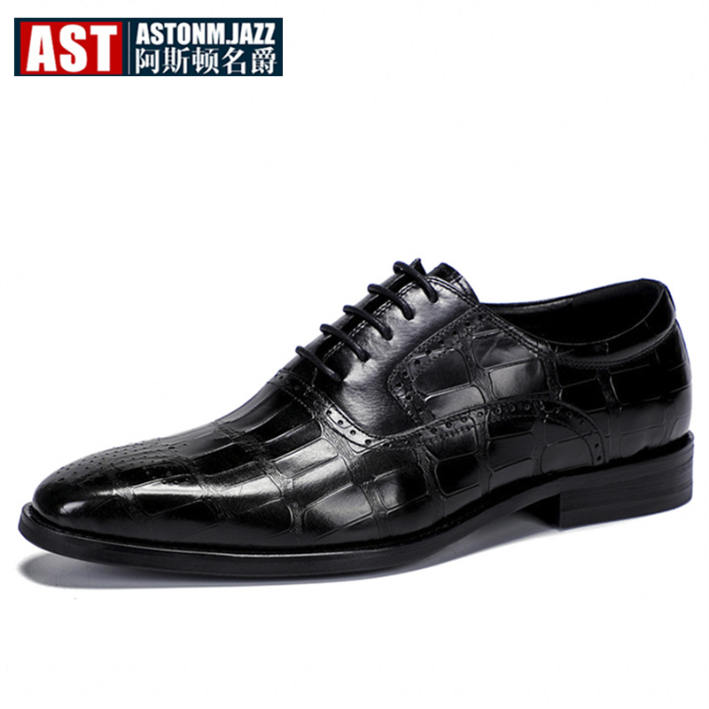 Hight End Mixed Colors Men Wedding Shoes Man Genuine Leather High profile Brogue Shoes Lace Up Pointed Toe Shoes Size 45 in Formal Shoes from Shoes