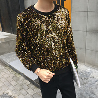 2018 new Gold Youth Hip hop Paillette t shirt men Sequin embroidery t shirt summer top Costume party dress Free shipping