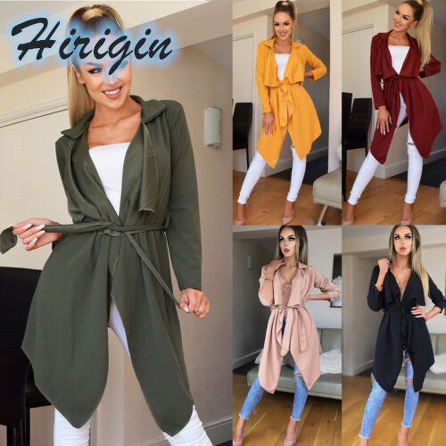 Trench   Summer Women Ladies Casual Long Windbreaker Coat Long Sleeve V-Neck Solid Open Stitch Casual   Trench