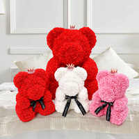 40 cm Bear Dolls Romantic Lovely PE Simulated Love Gift Rose Bear Valentine'S Day Wedding Artificial Rose Decorations Toy