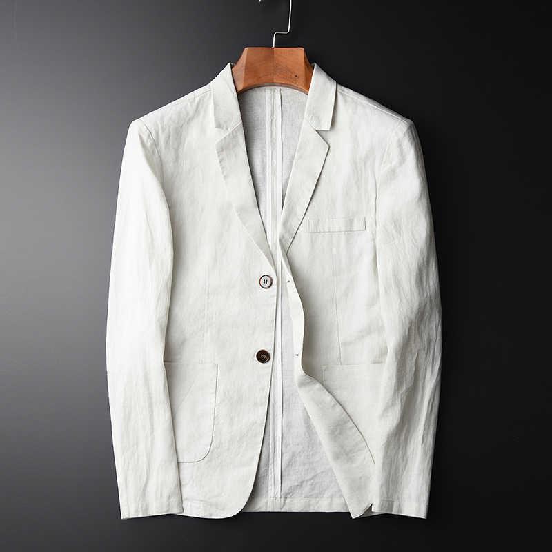 MINGLU ブレザーマン新 100% リネンスーツのジャケット春秋カジュアル男性シングルブレスト高品質サイズ M-L-XL-2XL-3XL-4XL