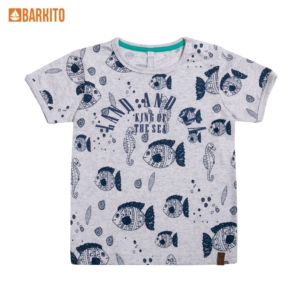 T-Shirts Barkito 338997 children clothing Cotton 32A-30421KOR White Boys Casual t shirts barkito 339006 children clothing cotton 32a 30475kor yellow boys casual