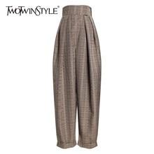 TWOTWINSTYLE Plaid Harem Pantaloni Per Le Donne A Vita Alta Pantaloni di Lunghezza Della Caviglia Femminile Casual Abiti di Moda 2020 di Autunno della Molla