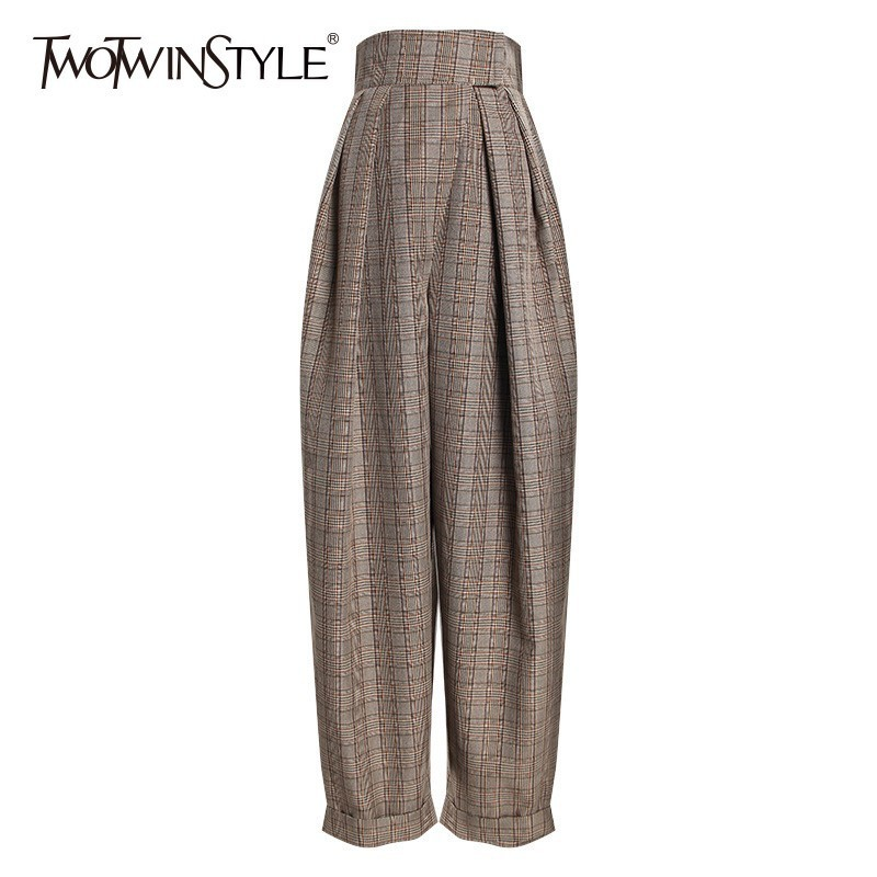 TWOTWINSTYLE Plaid Harem Trousers For Women High Waist Ankle Length Pants Female Casual Fashion Clothes 2019 Spring Autumn