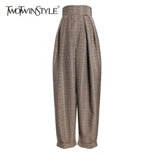 TWOTWINSTYLE Plaid Harem Trousers For Women High Waist Ankle Length Casual