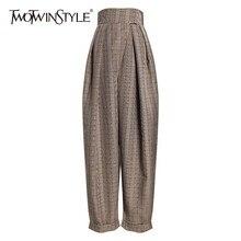 Twotwinstyle xadrez harem calças para mulheres de cintura alta tornozelo comprimento calças femininas casuais roupas moda 2020 primavera outono