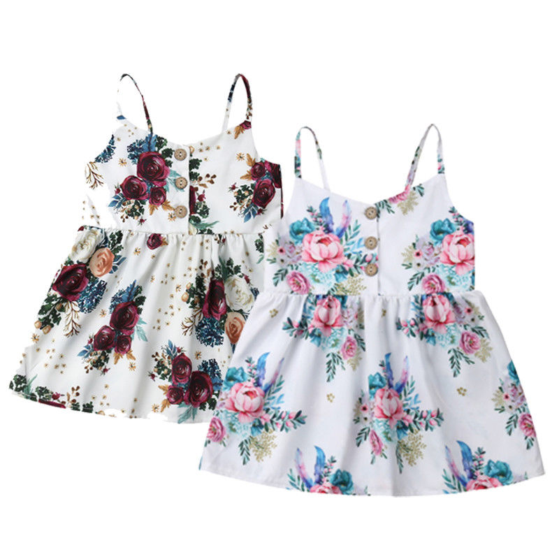 2019 Summer Toddler Baby Girls Dress Flower Sleeveless V Neck Party  Holiday Beach Dress For Girls