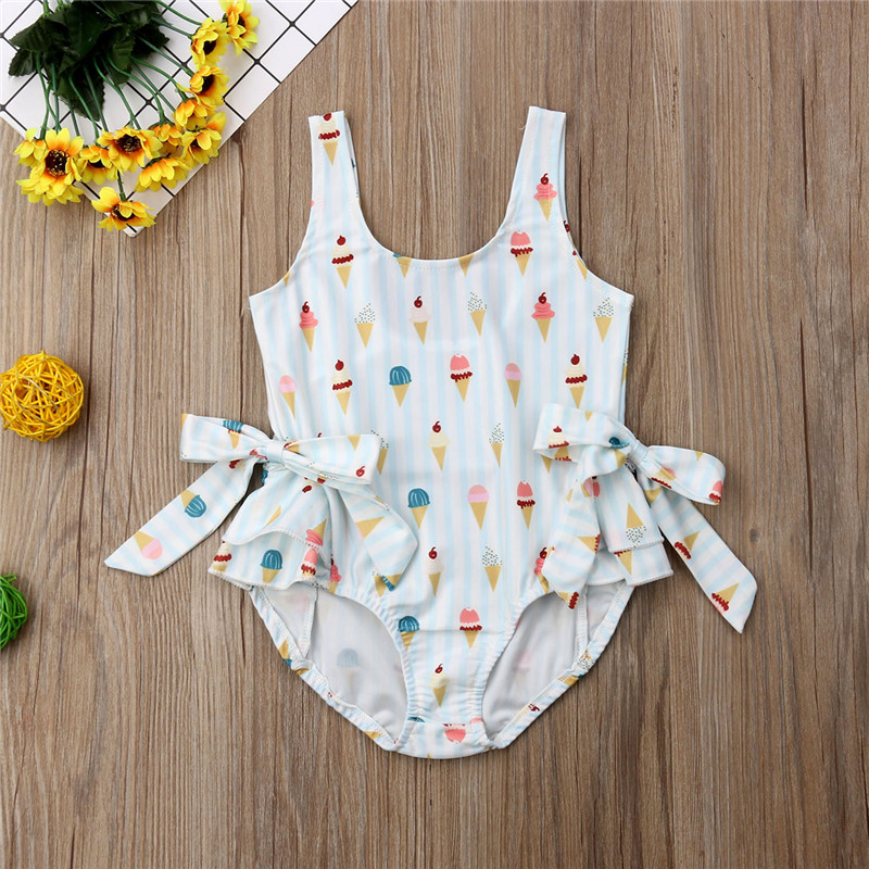 PUDCOCO Hot Toddler Kid Baby Girl Sleeveless Swimwear Ice Cream Bowknot Swimsuit Fashion Casual Beachwear Clothes Sets 1 5T in Clothing Sets from Mother Kids