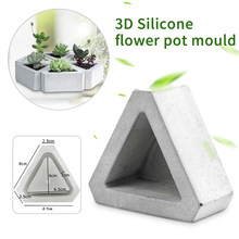 1Pc Triangle Concrete Silicone Mold Cactu Succulent Plant Flower Pot Mould DIY Cement Clay Craft Casting Flowerpot Mold 3D Mould(China)