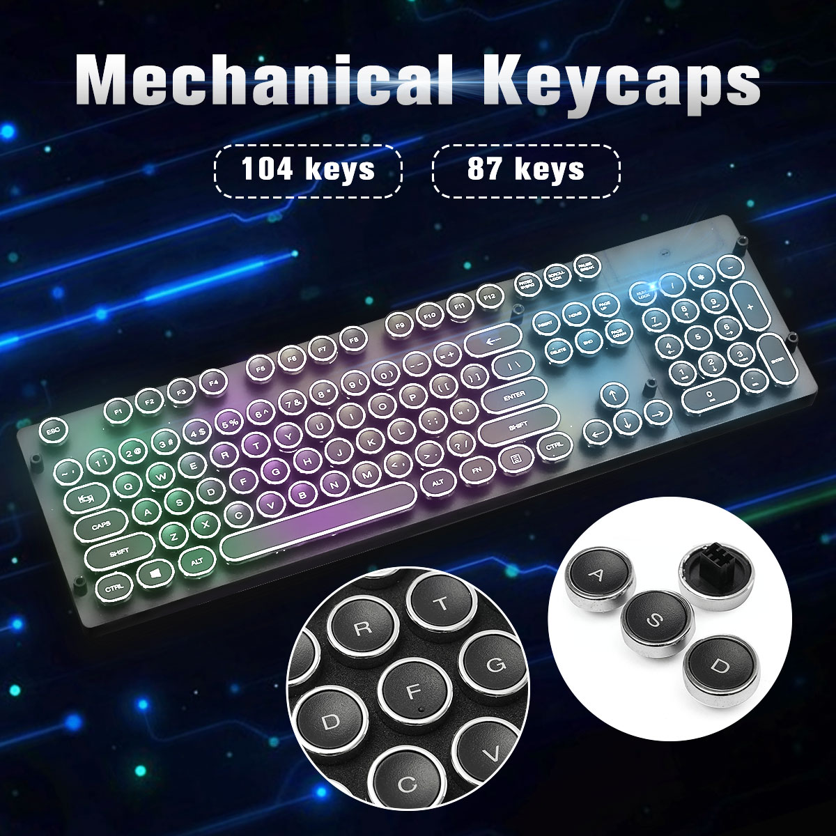 Computer & Office 100% True 104 Keys Steampunk Round Golden Silver Black White Keycap Key Cap Keycaps Ansi Layout For Cherry Mx Gaming Mechanical Keyboard Computer Peripherals