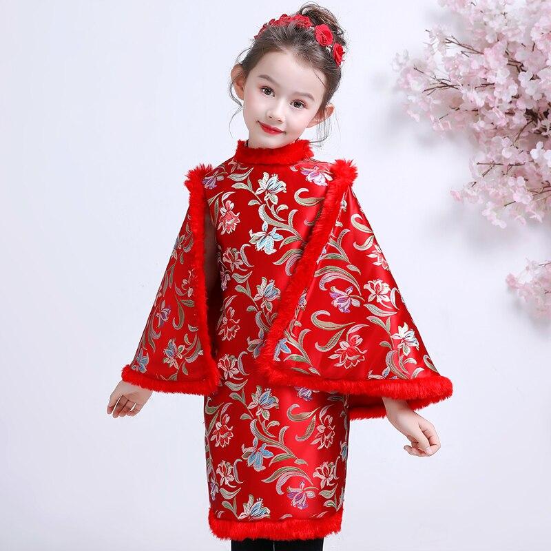 Robe chinoise pour enfants robes filles Cheongsam enfant rouge nouvel an Costume Satin Qipao hiver Tang Costume épaississement Plus velours - 4