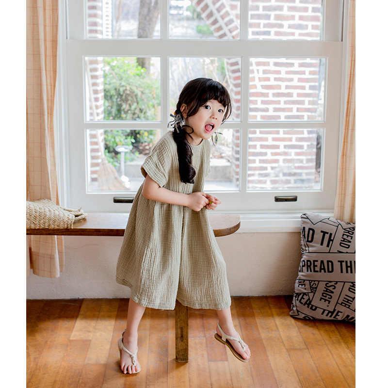 2019 г. летнее платье для больших девочек свободное хлопковое льняное с короткими рукавами и оборками подростковые платья Повседневная детская одежда принцессы для детей