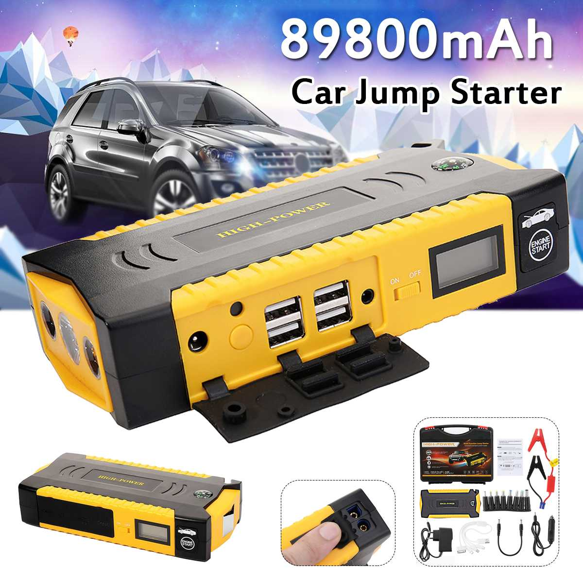 89800mAh Diesels Car Jump Starter Booster 4USB SOS Emergency Charger Battery Multifunction Power Bank for Diesels