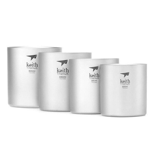 Keith Ti3501 4 pièces extérieur titane tasse tasse Pots vaisselle Camping tasse Double paroi pique-nique eau tasse de café thé