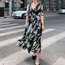 Женское шифоновое платье с цветочным принтом, новинка, женские длинные шифоновые платья с коротким рукавом и черными цветами, Летний стиль Vestidos