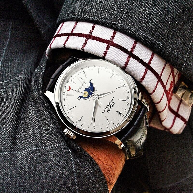 Saatler'ten Mekanik Saatler'de Switzerland LOBINNI Men Watches Luxury Brand Moon Phase Auto Mechanical Men's Clock Sapphire Leather relogio masculino L16012 1'da  Grup 2