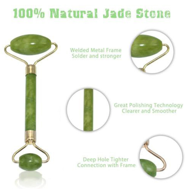 2 in 1 Green Roller and Gua Sha Tools Set by Natural Jade Scraper Massager with Stones for Face Neck Back and Jawline 3
