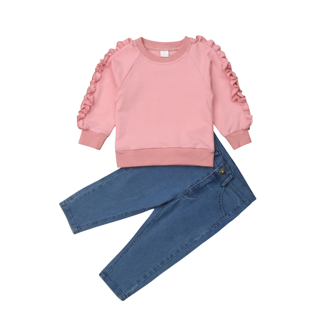 2018 Multitrust Brand Toddler Kids Baby Girl Ruffle Pink Icing Sweatsuit  Tops Denim Pants Jeans Warm Outfit Spring Clothes 1-6Y 3c929eed96b4