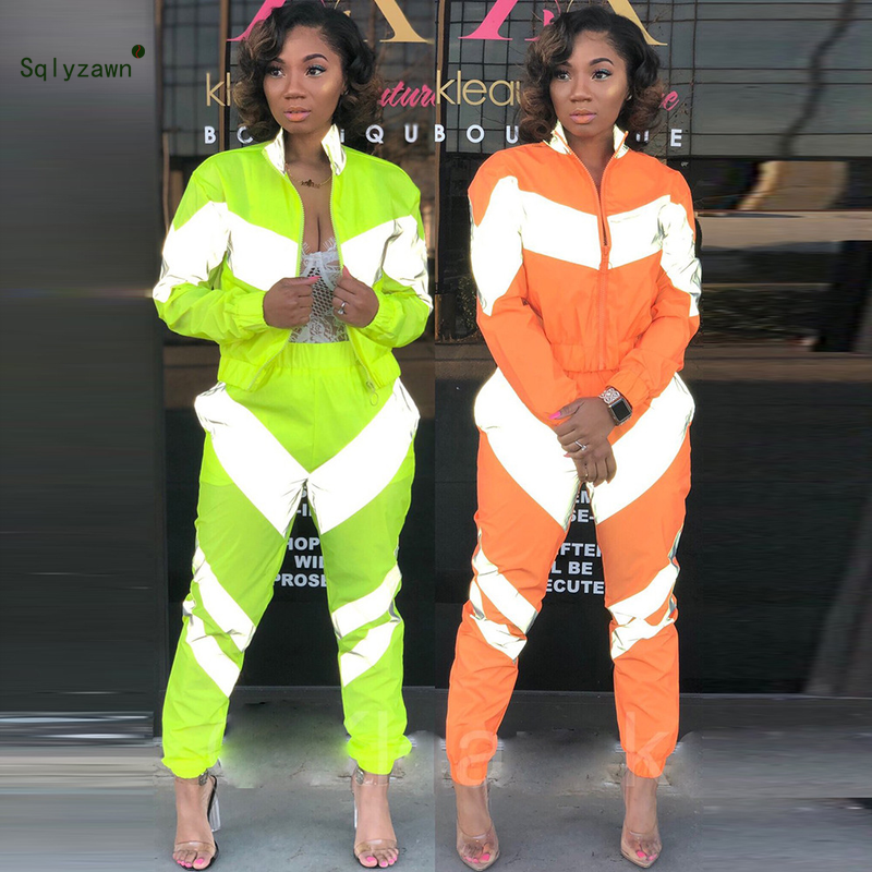Women Long Sleeve Fluorescent Green Jacket 2 Piece Set Reflective Neon Patchwork Pants Outfit Spring Sweatsuits Zipper Tracksuit