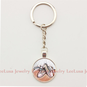 Girl Gift Jewelry Key Chain Love Dance Love Ballet Charm Keychain Prote Clef Glass Dome Ballet Key Holder earrings