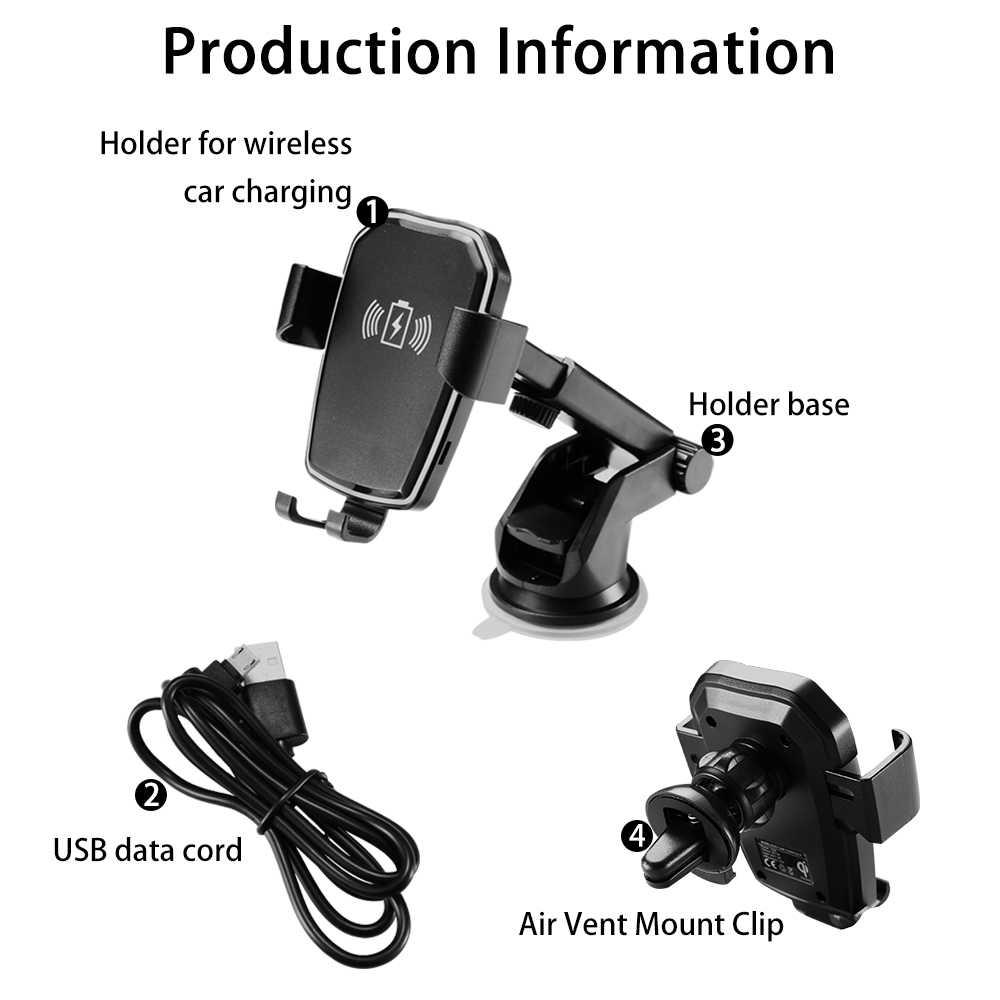 Caseier Qi Cepat Mobil Charger Nirkabel untuk iPhone X XR X Max Pengisian Nirkabel Gravitasi Mobil Ponsel Holder untuk Samsung catatan 9 Berdiri