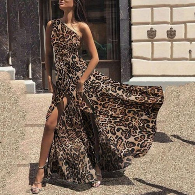 Vestidos Verano 2018 automne Sexy imprimé léopard robe femmes une épaule étage longueur Maxi robe léopard robe Vestido De Festa