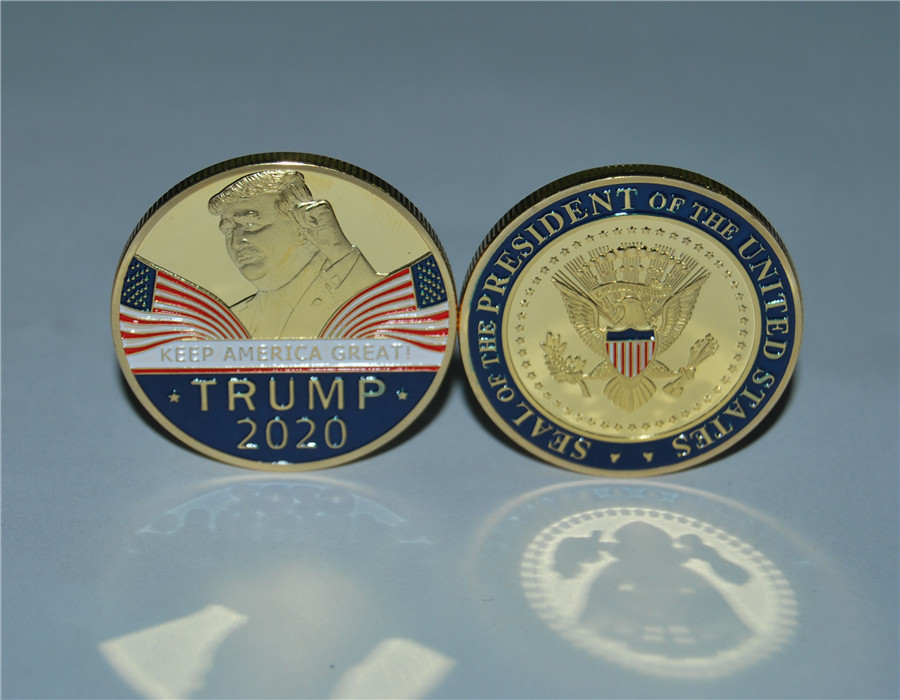 Dhl free shipping 100pcs/lot Donald Trump 2020 Challenge Coin Keep America Great United States Presidential
