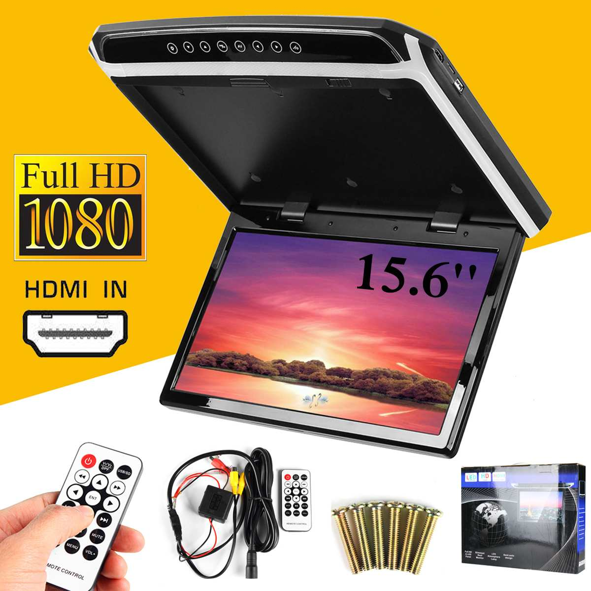 New 15.6 Inch HDMI 1080p Car Roof Mount Car Ceiling Flip Down TV Digital Screen Monitor 12V + Remote Control