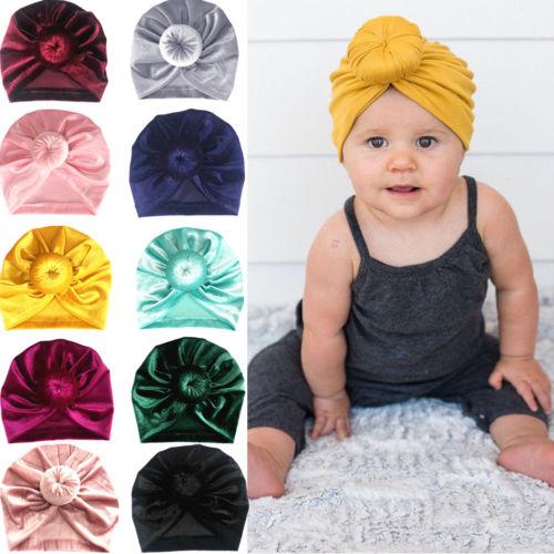 Toddler Girl Kid Baby Gold Velvet Bow Hairband Headband Stretch Turban Head Wrap Doughnut Knot Hat Winter Warm Cap