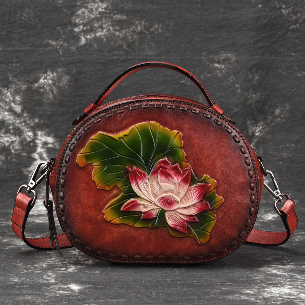 Genuine Leather Top Handle Cross Body Bag Lotus Pattern Chinese Style Tote Vintage Women Real Cowhide