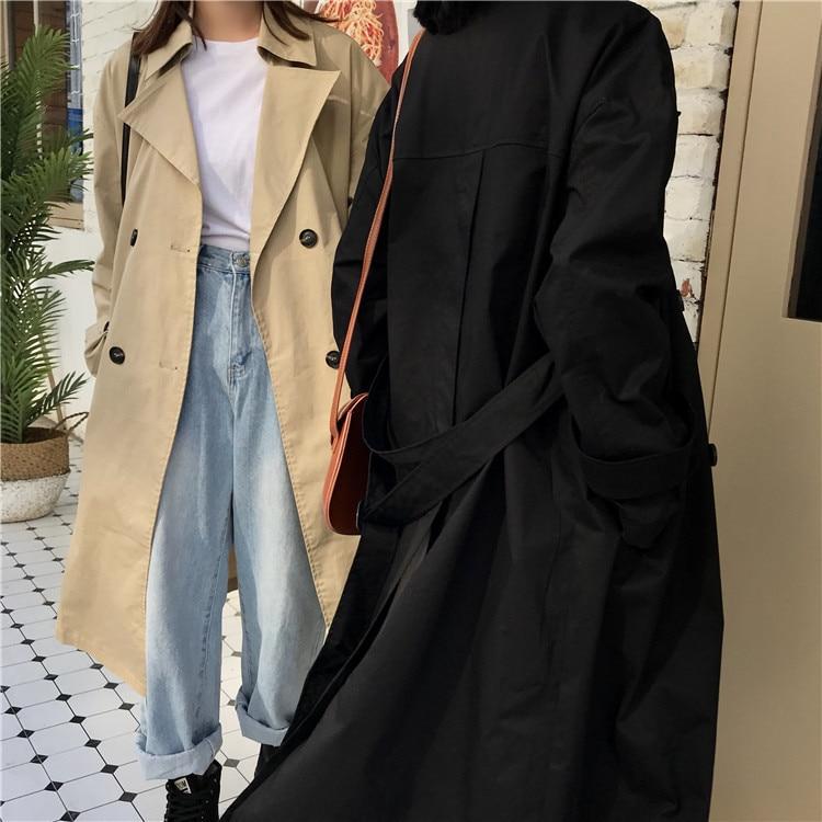 Manteau Split Nouveau Sc535 À Longues Black 2018 De Wkoud Eam Ceintures Automne Col Mode Double Manches khaki Hiver Kaki down Boutonnage Hem Femme Turn xSqTR1wWqE