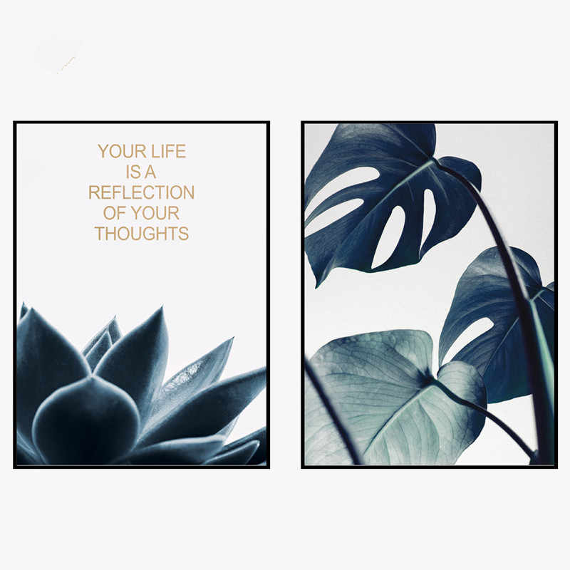 Green Leaves Motivational Decorative Nordic Minimalist Canvas Painting Modern Art Not Framed Garden Decor Posters and Prints