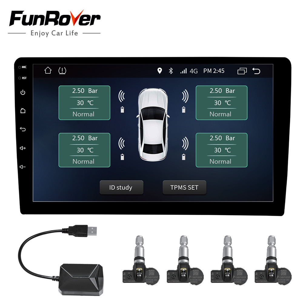 Car TPMS Android Funrover For DVD Player Monitor Wireless Tire Pressure Monitoring System with 4 Internal Tyre Sensors usb plug