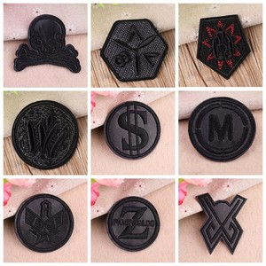 New Black Leather Dollar Star Number Embroidered Patches for Clothes Iron on Clothes Jacket Shoes Appliques Badge Stripe Sticker(China)