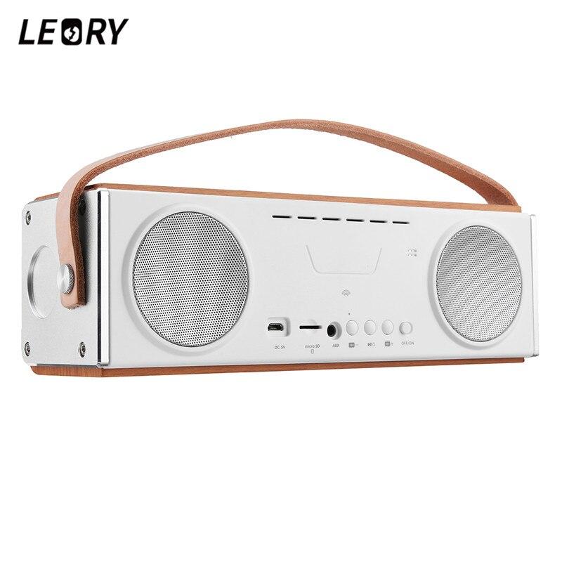 LEORY Portable bluetooth haut-parleur hifi En Bois Mobile haut-parleur stéréo 20 W Double Haut-parleurs Subwoofer Simplifié Haut de gamme Haut-Parleur
