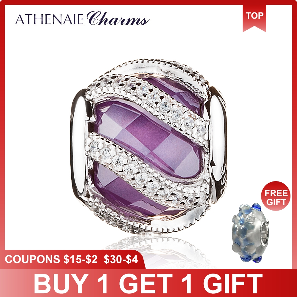 ATHENAIE 925 Sterling Silver Nature's Radiance Purple Charm Beads Fit Origjinal Pandora ձեռնաշղթա Բամբակյա վավերական DIY զարդեր