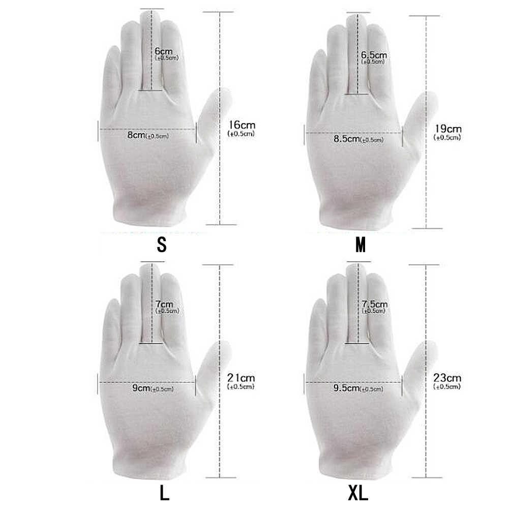1 пара белые хлопковые перчатки полный палец мужчины женщины официанты/водители/Ювелирные изделия/рабочие варежки Пот перчатки с возможностью впитывания рук протектор