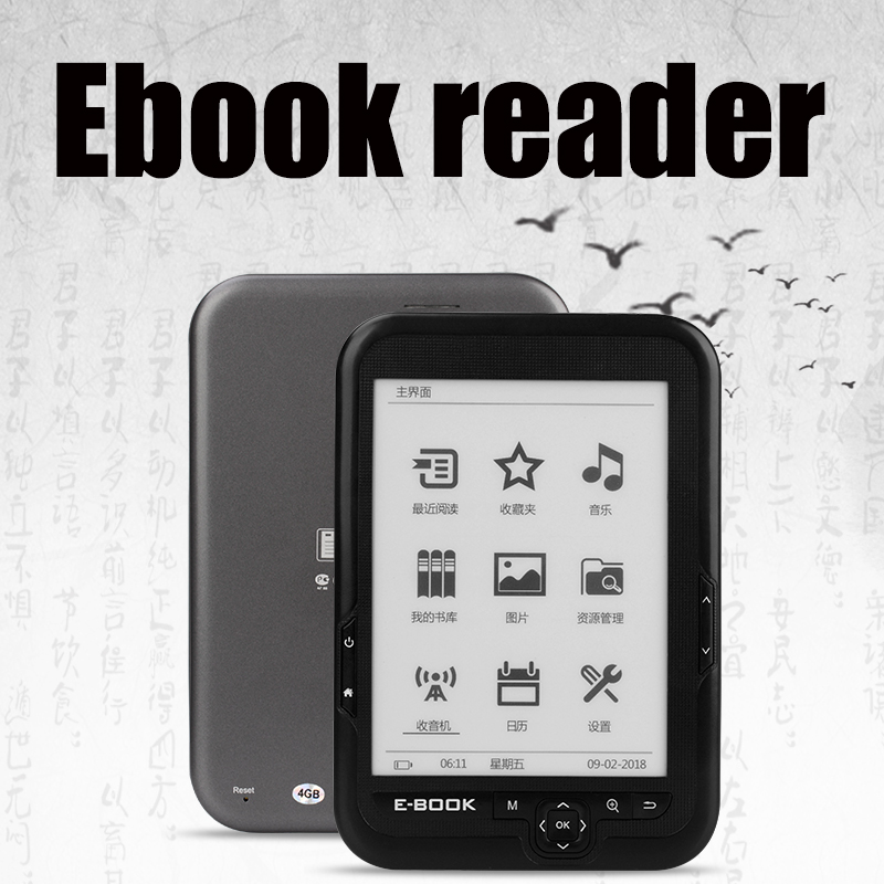 "CLATE 6"" Ebook Reader e-ink Capacitive E Book Light Eink Screen E-Book E-ink E-Reader MP3, WMA PDF HTML"