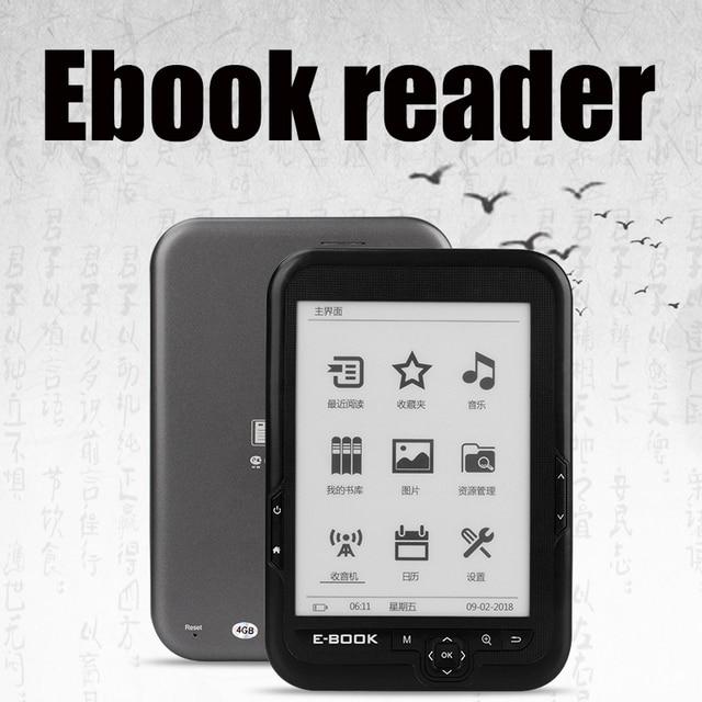 """CLATE 6 """"lector de e-ink capacitiva E libro luz Eink pantalla E-Book de E-ink e- lector MP3... WMA PDF, HTML"""