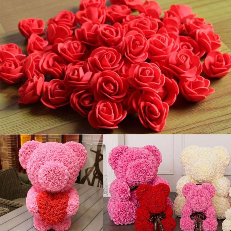 100pcs/bag 3.5cm Foam Teddy Bear Rose Decoration Artificial PE Foam Rose Head Fake Flower Handmade Wedding Party Decoration