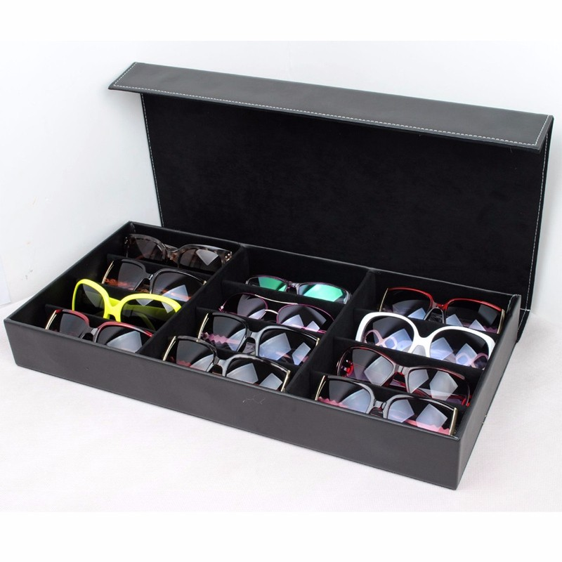 PU Leather Professional Glasses Case Vintage Sunglasses Eyeglasses Display Organizer 12 Grids Storage Holder Bag Eyewear Box