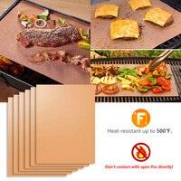 Hohe Qualität 6 stücke Reusable Non stick Bbq Hause Pad Blatt Fda Umweltfreundliche Kupfer Grill Matte Im Freien Backen Matten brennen Ofen Liner|Bäckerei & Konditorei-Tools|   -