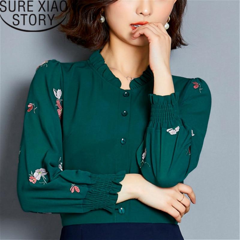 874de41ee2f Женская одежда 2019 женские блузки Большие размеры Женская белая рубашка  рубашки с длинным рукавом шифоновая блуза