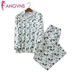 Неповторимый пижамы Для женщин мультфильм Nightwesr 100% матовый хлопок женский милый Ночной костюм пижама с длинными рукавами комплект большой