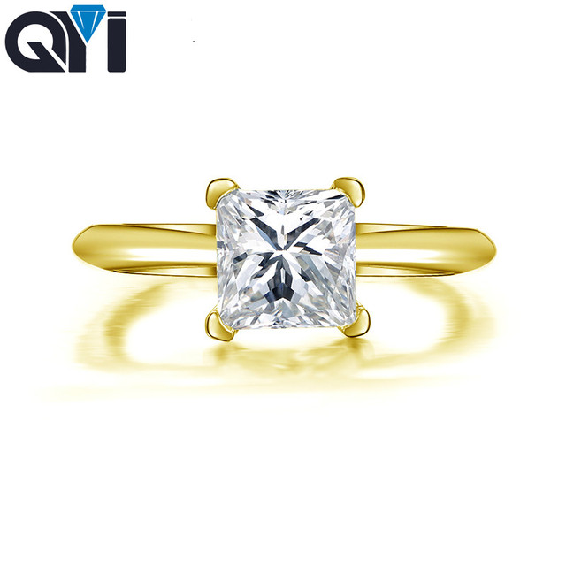 QYI 1.25 ct Princess Cut 14K Solid Yellow Gold Rings Women jewelry Sona Simulated Diamond Engagement Ring