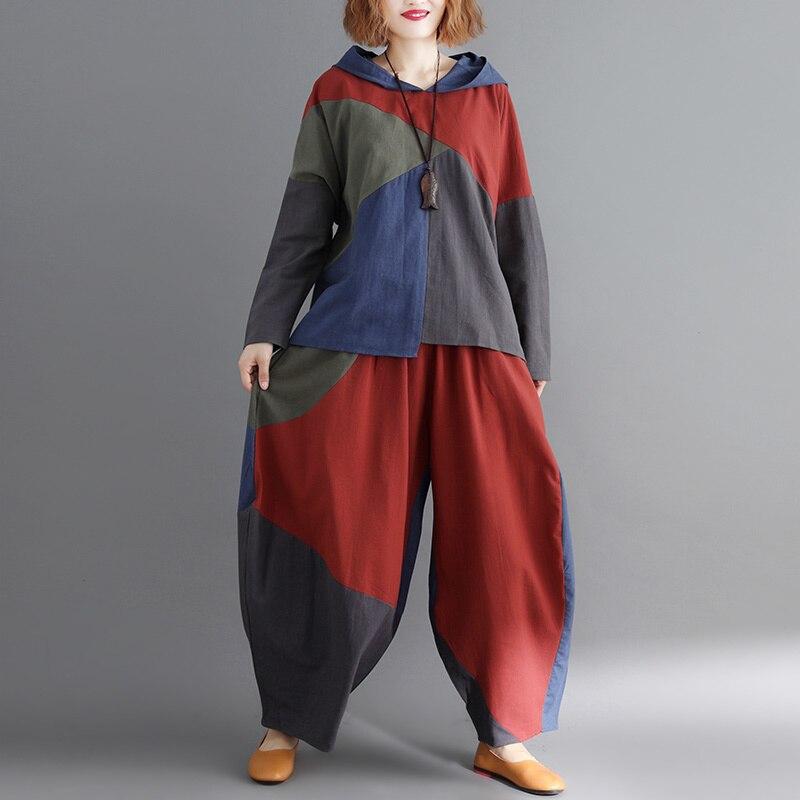 EWQ 2019 Spelling Cloth Beggar Wind Even Hat Jacket Increase Fertilizer Leisure Time Wide Leg