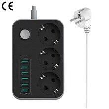 ЕС Европейский Plug мощность полосы W/переключатель 10A 250 в 2500 Вт 3 розетки 6 USB расширение провод розетки кабель стабилизатор напряжения