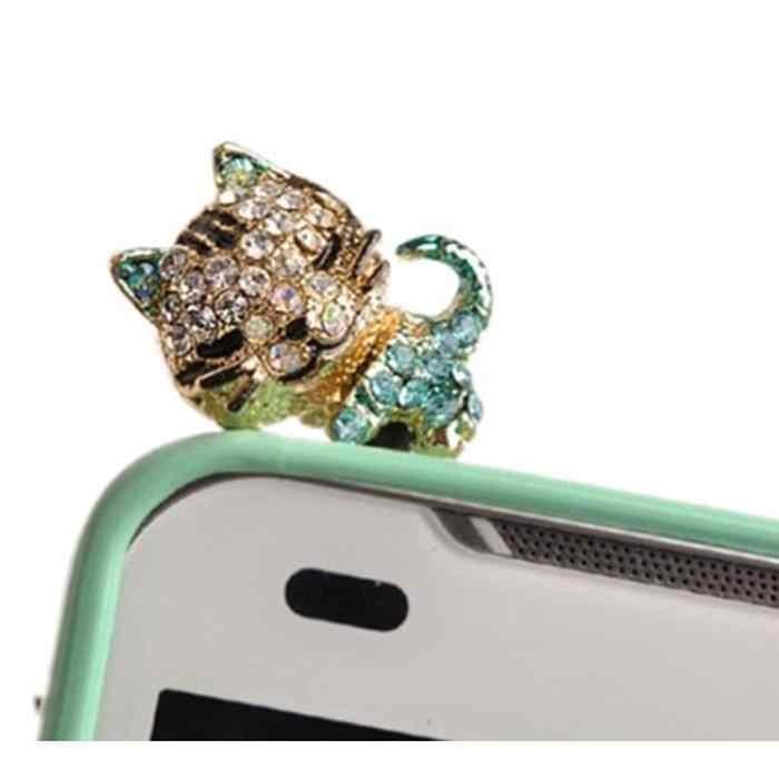 טלפון נייד אוזניות חור תקע Dustproof קריקטורה חמוד חתול סגסוגת תקע להגן ולקשט מזדמן